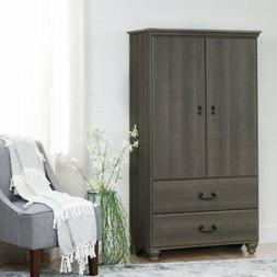 South Shore Noble Armoire with 2 Large Drawers in Gray Maple