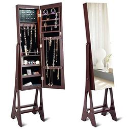 Giantex 12 LED Jewelry Armoire Cabinet with Mirror, Auto-On
