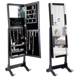 Giantex 12 LED Jewelry Cabinet Armoire with Mirror, Lockable