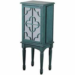 14J8119T Mazie Jewelry Armoire, Teal With Mirrored Front Kit