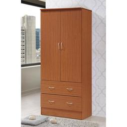 2-DOOR WARDROBE ARMOIRE 2-Drawers Storage Organizer Garment