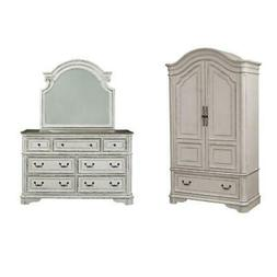 2 Piece Vinage Distressed Armoire and Dresser Mirror Set in
