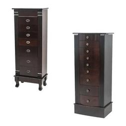 2 Types Large Jewelry Cabinet Armoire Box Storage Chest Neck