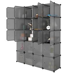 LANGRIA 20 Cube Organizer Stackable Plastic Cube Storage She