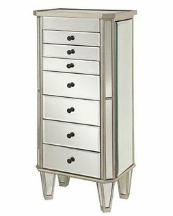 Powell  233-314 Mirrored Jewelry Armoire with Silver Wood NE