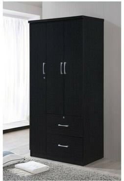 3 Door Bedroom Armoire With Drawers Wardrobe Clothes Organiz