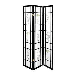 3 Panel Flowered Shoji Screen Room Divider/Privacy Screenz H