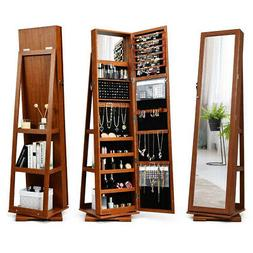 360° Rotatable Jewelry Cabinet Armoire 2-in-1 Lockable Mirr