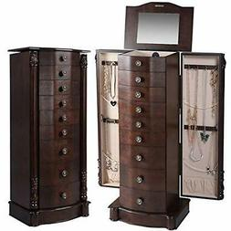 "40"" Jewelry Armoire Chest Cabinet Heavy Duty 17"" Wide Stand"