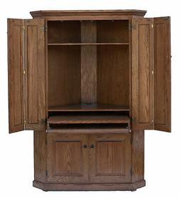 "Loon Peak 47"" Lapierre 4 Panel Door Corner Armoire Desk"
