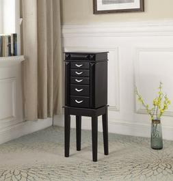 5 Drawer Jewelry Armoire - lined with felt, with mirror and