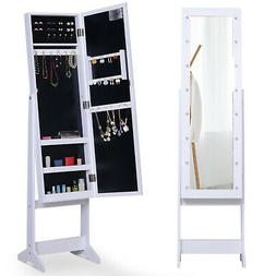 "54"" Locking LED Jewelry Cabinet Armoire with Full-Length M"