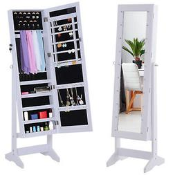 "58"" Locking LED Jewelry Cabinet Armoire with Full-Length M"