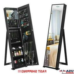 "59"" Tall Mirrored Large Jewelry Cabinet Armoire Jewelry Stor"