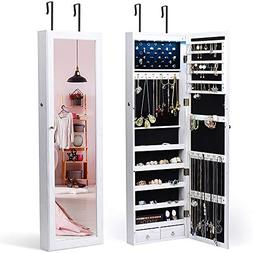 TWING 6 LEDs Jewelry Cabinet Lockable Wall Door Mounted Jewe