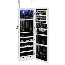 SONGMICS 6 LEDs Jewelry Cabinet Lockable Wall/Door Mounted J