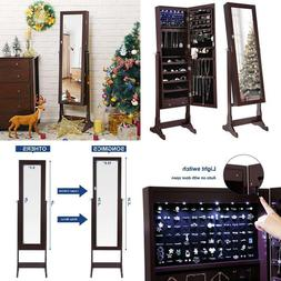 6 leds jewelry cabinet lockable standing jewelry