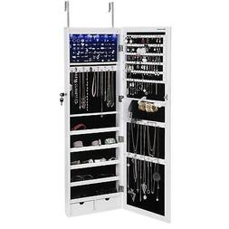 SONGMICS 6 LEDs Jewelry Cabinet Lockable Wall Door Mounted J