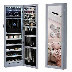 SONGMICS 6 LEDs Mirror Jewelry Cabinet Armoire, Lockable Wal