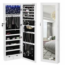 SONGMICS 6 LEDs Mirror Jewelry Cabinet Lockable Wall/Door Mo