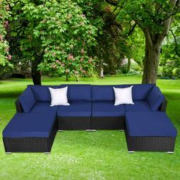 6 Piece Patio Furniture Sets Outdoor Deck Sofa Couch Set wit
