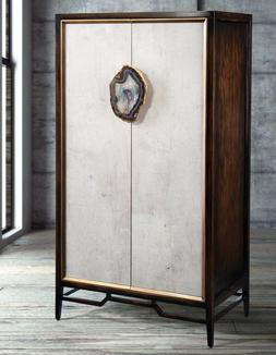 "62"" Modern Brown Wood Ivory Anzu Cabinet Armoire w/ Agate St"