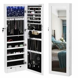 SONGMICS 6LEDs Mirror Jewelry Cabinet Lockable Wall/Door Mou