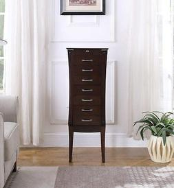 7 Drawer Jewelry Armoire with Tapered Legs By Nathan Direct