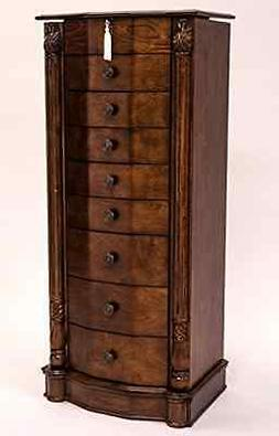 8 Drawer Large Floor Standing Wooden Jewelry Armoir Furnitur