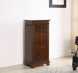 8 Drawer Jewelry Armoire with Locking mechanism- BROWN