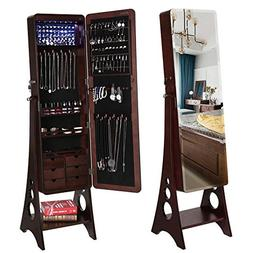 SONGMICS 8 LEDs Jewelry Cabinet Armoire with Beveled Edge Mi