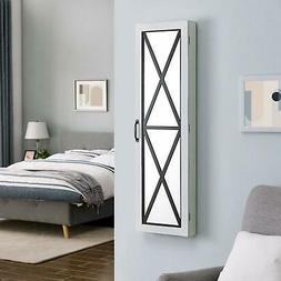 """FirsTime 81003 Barn Door Jewelry Armoire, 47"""" x 14"""" x 3"""", Wh"""