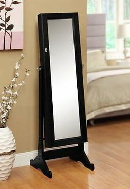 Black Mirrored Jewelry Cabinet Amoire W Stand Mirror Rings,