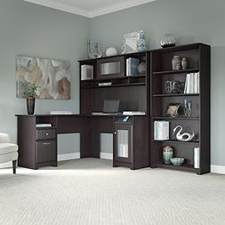 Cabot L Shaped Desk with Hutch and 5 Shelf Bookcase in Espre