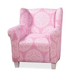 HomePop Youth Upholstered Club Chair, Pink and White Medalli