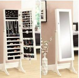White Mirrored Jewelry Cabinet Armoire W Stand Mirror Rings,