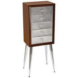 ACME Gannon Jewelry Armoire in Chrome and Dark Mahogany
