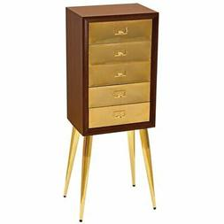 ACME Gannon Jewelry Armoire in Gold and Dark Mahogany