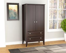 Inval AM-17723 Espresso Wengue Wood Two Door and Drawer Armo
