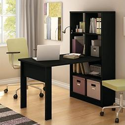 South Shore Work Table for 2 and Storage Unit Combo, Pure Bl