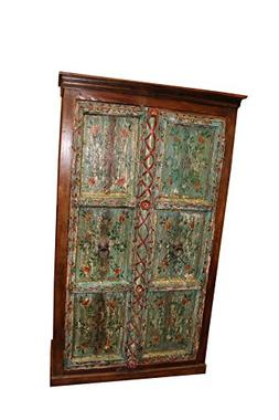 Mogul Interior Antique armoire Rustic Christmas Green Blue B