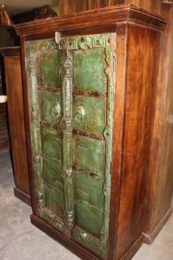 Antique Armoire RUSTIC GREEN STORAGE CHEST ANGLO INDIAN Cabi