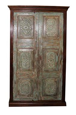 Mogul Interior Antique Doors Armoire Teak Wood Cabinet Chakr