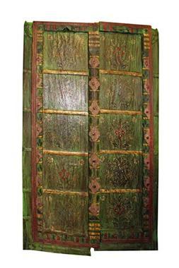 Mogul Interior Antique Doors Green Floral Hand Painted Rusti