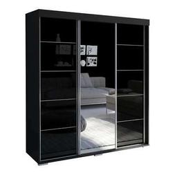 """Aria 3 Door 71"""" Wide Modern High Gloss Wardrobe Armoire with"""