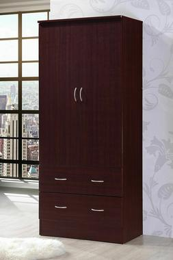 Hodedah Armoire 2-Door 2-Drawer Wardrobe Mahogany - FREE Shi