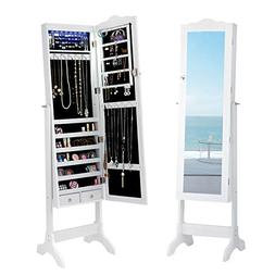 Giantex Jewelry Armoire Cabinet Organizer with Cheval Mirror
