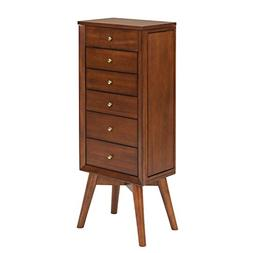 "Furniture HotSpot Jewelry Armoire – Dark Sienna – 14"" W"