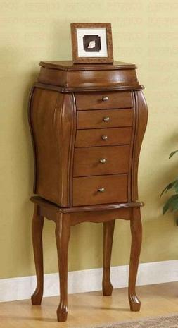 Jewelry Armoire Queen Anne Style in Antique Cherry Finish
