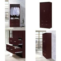 Bedroom Armoire 2-door 2-drawers Wardrobe Storage Closet Cab